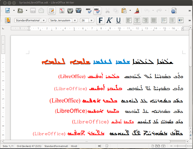 Syriac in LibreOffice